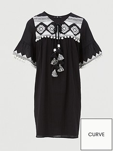 v-by-very-curve-embroidered-tassel-dress-blackwhite