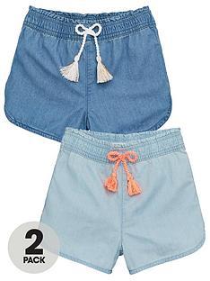 v-by-very-girlsnbspchambray-shorts-2-pack-multi