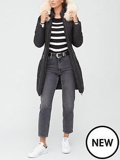 v-by-very-long-waist-detail-padded-coat-black