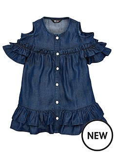 v-by-very-tencel-frill-detail-dress-blue