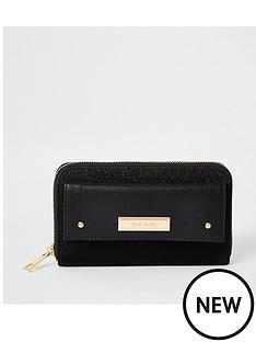 river-island-river-island-pocket-front-zip-around-purse-black