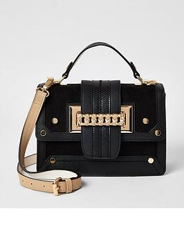 river-island-chain-front-mini-bag-black