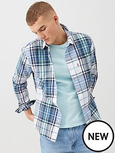 levis-sunset-one-pocket-checked-shirt-navy