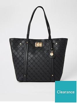 river-island-lock-detail-shopper-bag-black