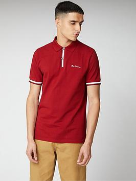 ben-sherman-mod-stripe-detail-polo-shirt-red