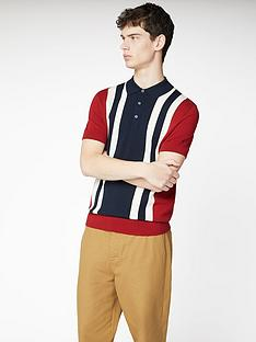 ben-sherman-colour-block-knitted-polo-shirt-red