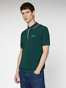 ben-sherman-resort-neck-knit-polo-top-green