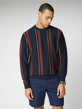 ben-sherman-knitted-mod-stripe-crew-neck-jumper-dark-navy