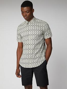 ben-sherman-short-sleeve-linear-print-shirt-ecru
