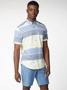 ben-sherman-short-sleeved-engineered-stripe-shirt-sky