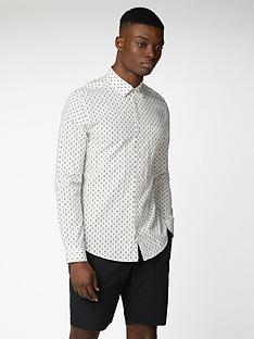 ben-sherman-long-sleeve-geo-print-shirt-ivory