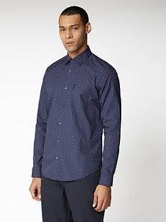 ben-sherman-long-sleeve-geo-print-shirt-navy
