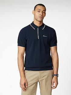 ben-sherman-resort-neck-knit-polo-top-dark-navy
