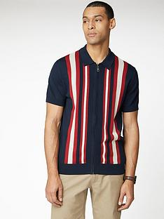 ben-sherman-textured-stripe-zip-through-polo-shirt-navy
