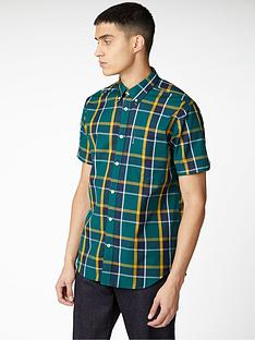 ben-sherman-short-sleeve-textured-check-shirt-green