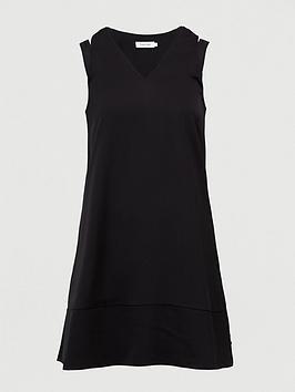 calvin-klein-jeans-v-neck-flared-dress-black