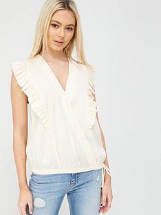 calvin-klein-v-neck-frill-trim-top-white