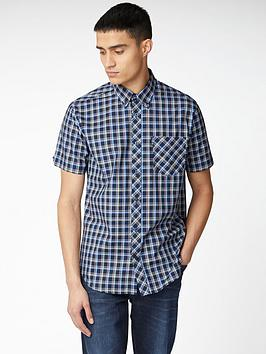 ben-sherman-short-sleeved-check-shirt-navy-blue