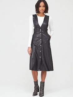 v-by-very-button-pu-pinafore-midi-dress