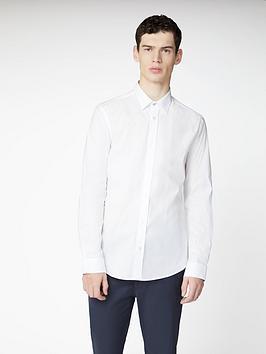 ben-sherman-long-sleeve-stretch-poplin-shirt-white