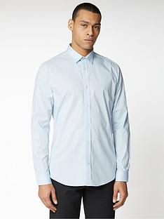ben-sherman-long-sleeve-stretch-poplin-shirt-blue