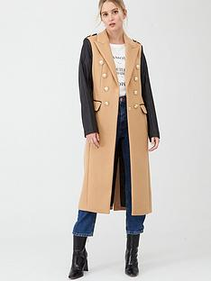 river-island-river-island-double-breasted-pu-sleeve-military-coat-camel