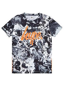 hype-boys-marble-print-short-sleeve-t-shirt-black