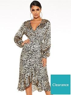 quiz-satin-leopard-balloon-sleeve-frill-hem-midi-dress-brown