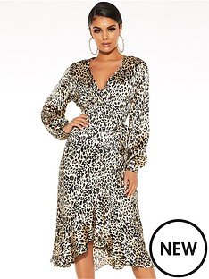 quiz-satin-leopard-balloon-sleeve-frill-hem-midi-dress-brown