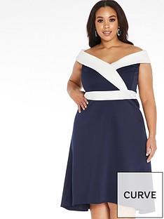 quiz-curve-bardot-dip-hem-dress-navy-and-cream