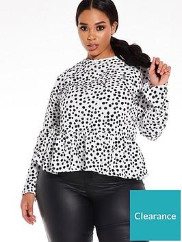 quiz-curve-polka-dot-woven-peplum-top-black-and-white
