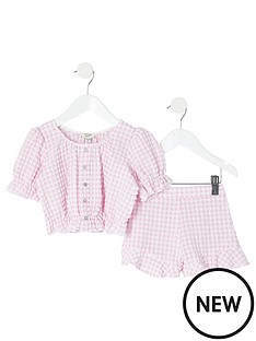river-island-mini-mini-girls-gingham-puff-sleeve-top-and-shorts-pink