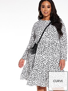 quiz-curve-polka-dot-woven-tiered-dress-white-and-black