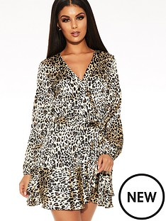 quiz-satin-leopard-balloon-sleeve-frill-hem-wrap-tie-belt-dress-brown