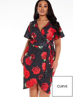 quiz-curve-quiz-curve-black-white-and-red-floral-polka-dot-midi-dress