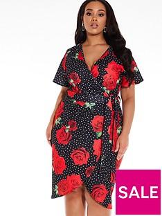 quiz-curve-quiz-curve-black-white-and-red-floral-polka-dot-midi-dress