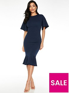 quiz-fluted-sleeve-midi-dress-navy