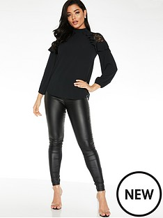 quiz-lace-shoulder-ruffle-sleeve-blouse-black