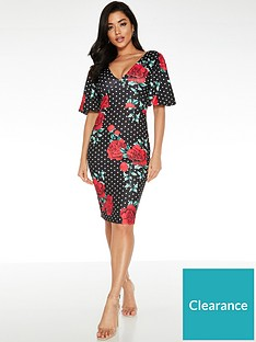 quiz-polka-dot-rose-print-midi-dress-black