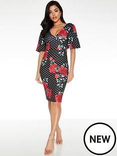 quiz-polka-dot-rose-print-midi-dress-black