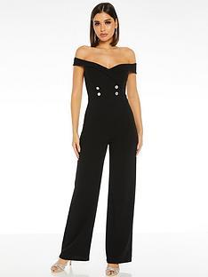 quiz-scuba-crepe-bardot-button-detail-palazzo-jumpsuit-black