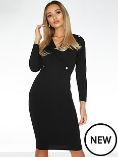 quiz-button-lapel-midi-dress-black