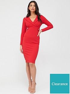 quiz-button-lapel-midi-dress-red
