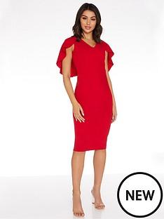 quiz-round-neck-midi-cape-dress-red