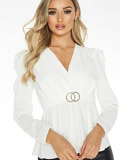 quiz-puff-sleeve-peplum-buckle-detail-top-cream