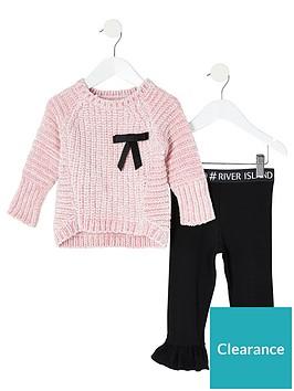 river-island-mini-girls-bow-jumper-and-legging-set--nbsppinkblack