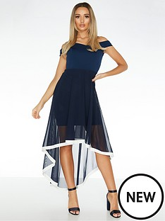 quiz-bardot-mesh-skirt-dip-hem-dress-with-contrast-hem-navy