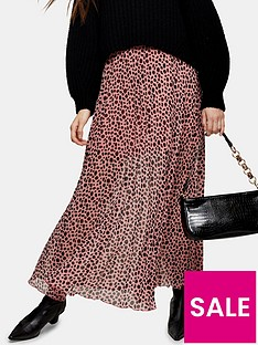 topshop-spot-animal-print-tiered-midi-skirt-pink