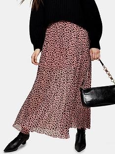 topshop-topshop-spot-animal-print-tiered-midi-skirt-pink