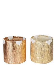 set-of-2-metallic-baskets-gold